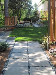 I like this dark edging with the simple pavers... thx to Lisa Port, APLD - contemporary - landscape - seattle - Banyon Tree Design Studio