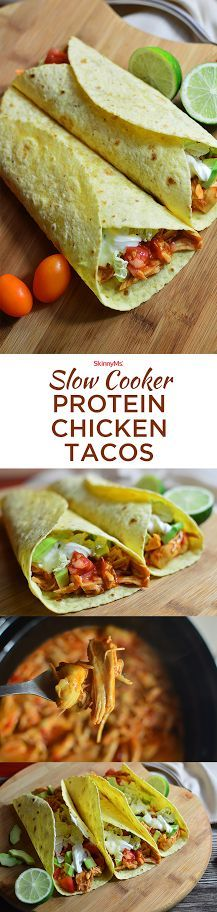 These Slow Cooker Protein Chicken Tacos will satisfy your whole family! #tacos #slowcooker #skinnyms