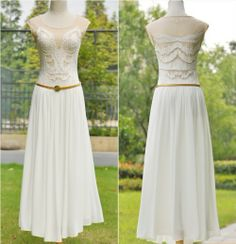New Fashion Long White Chiffon Women Party Evening Elegant Dress $24.20