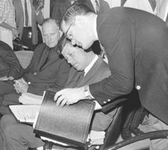 """President Kennedy consults with Sorensen, right, during a meeting at the """"winter White House"""" in Palm Beach, Fla., in December 1962. At left is Treasury Secretary Douglas Dillon.♛❤✾❤✾❤❁❤❃❤❁❤❁❤♛ http://en.wikipedia.org/wiki/John_F._Kennedy"""