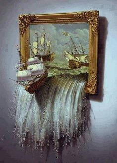 narnia painting voyage of the dawn treader  could paint similar ideas, with things spilling out of portrait/frame
