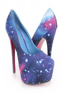 Stardust Printed Platform Pump Heels Fabric