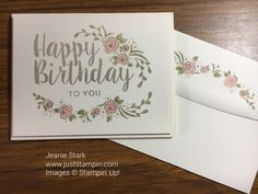 Birthday card using Stampin' Up! Big on Birthdays stamp set and blender pen to watercolor.