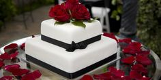 Black and white and red modern wedding cake.