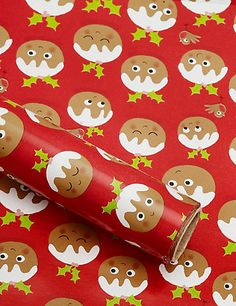 8m Cute Christmas Pudding Roll Wrapping Paper Home