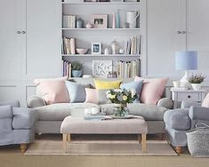 Living Room Paint Pastel - Beautiful Living Room with Colorful Pastel Color Style. Pastel Living Room, Living Room Paint, Living Room Colors, Living Room Sofa, Living Room Designs, Living Room Decor, Apartment Living, Living Pequeños, Living Room On A Budget