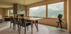 Modern Chalet, Engelberg, Switzerland. Arde.ch Architects, Concrete walls are NOT concrete but done with http://www.naturofloor.ch/