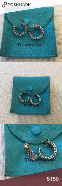 Tiffany earrings Beautiful authentic Tiffany mesh hoop earrings.  Tiffany pouch included.  Sterling silver. Tiffany & Co. Jewelry Earrings