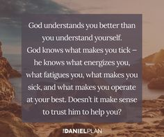 God has been there every moment of your life. He watched you being formed in your mother's womb and watched you take your first breath. That means he cares about every detail, including your health. So why would you attempt to get healthy — something God clearly desires for you — without relying on him?