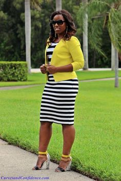 Curves and Confidence   Inspiring Curvy Fashionistas One Outfit At A Time Black and white Bodycon with yellow blazer