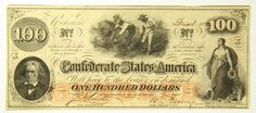 1862 One Hundred Dollar 100 Bill Confederate States Obsolete Currency Richmond   eBay