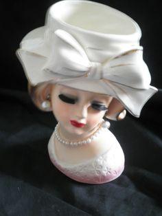 Head Vase 1956 Napco pearl earring  5 1/2 inche