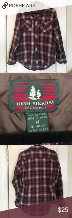 VINTAGE oversized flannel High Sierra brand red, blue, brown and cream flannel. Boyfriend, oversized style. Originally men's medium. 100% acrylic, amazingly soft! Perfect for school, camping, lounging around, you name it. Very unique, you won't find this anywhere else 🙃 awesome condition! Perfect for a UNIF kinda girl UNIF Tops Button Down Shirts