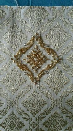 Discover thousands of images about Embroidered brocade. Zardozi Embroidery, Pearl Embroidery, Bead Embroidery Patterns, Tambour Embroidery, Couture Embroidery, Indian Embroidery, Embroidery Fashion, Hand Embroidery Designs, Embroidery Stitches