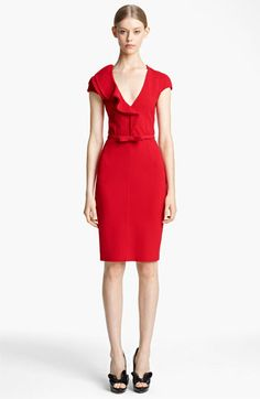 Valentino Compact Jersey Sheath Dress with Bow Belt available at #Nordstrom Simple and beautiful.
