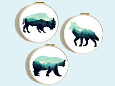 This article is not available - Bear Wolf Buffalo modern cross stitch pattern simple - Cross Stitch Fabric, Cross Stitching, Cross Stitch Embroidery, Embroidery Patterns, Hand Embroidery, Cross Stich Patterns Free, Cross Stitch Charts, Cross Stitch Animals, Mountain Silhouette
