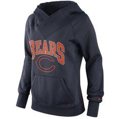 Nike Chicago Bears Ladies Wildcard Pullover Performance Hoodie - Navy Blue