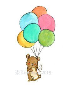 Nursery Art -- Bear's Balloons -- Art Print