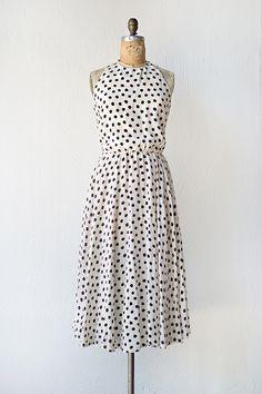 vintage 1980s white black silk polka dot dress | Selected Notes Dress