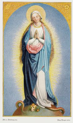 A German lithograph of Mary as the Immaculate Conception, crushing a skull with her right foot.