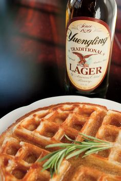 Beer waffles with a rosemary-vanilla twist | Lager Waffles With Rosemary-Vanilla Maple Syrup at http://draftmag.com/recipes/detail/127