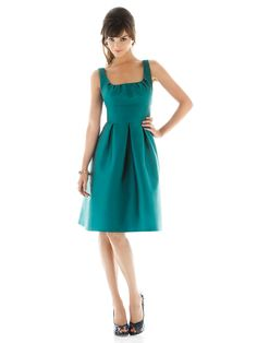 Wholesale Cheap 2014 Best Selling Alluring Satin Empire Waist Knee Length Bridesmaid Dress Fascinating