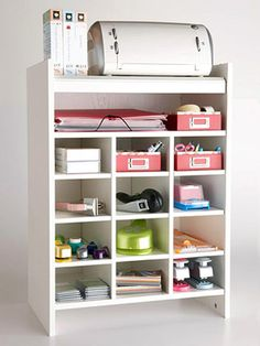 This shoe organizer makes a great printer stand with storage space- scrapbook room someday Scrapbook Storage, Scrapbook Organization, Craft Organization, Scrapbook Rooms, Scrapbook Supplies, Craft Room Storage, Storage Spaces, Craft Rooms, Cubbies