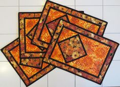 Quilted Fall Floral Placemats set of four White Placemats, Fall Placemats, Modern Placemats, Table Runner And Placemats, Table Runner Pattern, Quilted Table Runners, Placemat Sets, Quilt Placemats, Quilted Placemat Patterns