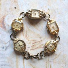Timeless  Handmade Vintage Art Deco Watch Bracelet by ComeDayGoDay, $75.00