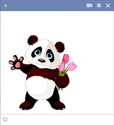 This panda is sporting a charming bouquet of tulips that you can share with a good friend or sweetheart on Facebook.