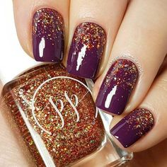 Wine color nail polish topped with gold shimmery,indie nail polish,nail art design ideas