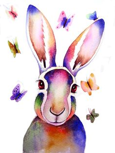 HARE and BUTTERFLIES Signed Art Print from an original by Vivaci