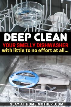 Deep Clean Your Smelly Dishwasher Easily clean your smelly dishwasher with vinegar and baking soda! Also learn how to clean your dishwasher's filter with these easy cleaning hacks. Household Cleaning Tips, Cleaning Recipes, House Cleaning Tips, Diy Cleaning Products, Cleaning Solutions, Deep Cleaning, Cleaning Hacks, Cleaning With Baking Soda, Baking Soda Vinegar Cleaner