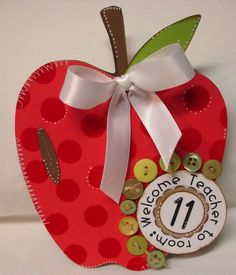 Not sure about the phrase, but I love the traditional apple theme for teachers and like how cute this is.