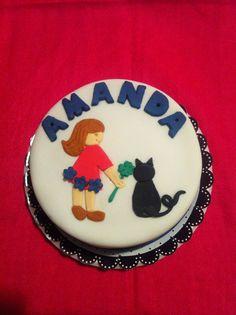 Bolo Menina e gatinho Girl and kittie cake