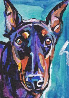 Doberman Pinscher art print dog pop art bright by BentNotBroken, $11.99