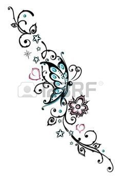 Tribal flower butterfly tattoo style vector on VectorStock Miami Ink Tattoos, Foot Tattoos, Body Art Tattoos, New Tattoos, Small Tattoos, Tribal Flower Tattoos, Tribal Butterfly Tattoo, Herz Tattoo, Tattoo Zeichnungen
