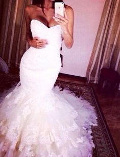Mermaid Wedding Dress ,Sweetheart White Bridal Gown,Tulle Formal Dress,Wedding Gowns,810607