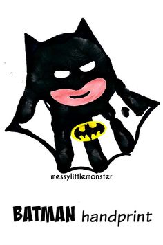 Messy Little Monster: Batman superhero handprint craft Handprint art that is easy for kids, fingers, toes, hands and more! Get messy