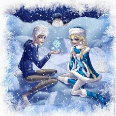<3 jack frost but idk who the blonde chick is... I have a feeling shes related to north (his face XD) <(this comment) Maybe it's his daughter or something.