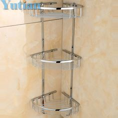 69.99$  Buy here - http://ai58m.worlditems.win/all/product.php?id=32711951512 - Free Shipping Wall Mounted chrome finish brass Bathroom Shower shampoo Shelf  Basket Holder Fashion Three Layers YT-7016