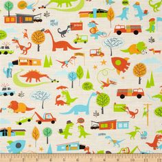 Timeless Treasures Herosaurus Multi from @fabricdotcom  Designed by Jennifer L. Wambach for Timeless Treasures, this cotton print fabric is perfect for quilting, apparel, crafts, and home decor items. Colors include cream, lime, coral, turquoise, brown, and orange.