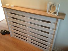 "Pinner; ""My pallet radiator cover all painted, so chuffed with it."" LOVE THIS IDEA."
