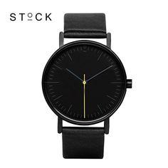 STOCK Quartz Watch Men Top Brand Black Leather Watches Relojes Hombre 2016 Horloge Orologio Uomo Montre Homme…