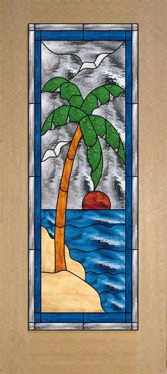 Awesome Palm Tree Stained Glass door! $1,199.00 plus shipping Beautiful custom  & stock made stained glass doors that are for interior or exterior use.  All of our patterns our designed in-house and we also welcome custom designs and logos.   All of our stained glass panels are sealed in between two pieces of clear impact resistant glass.  We also make stained glass windows and cabinet inserts... Email for a quote today!   Stainedg@aol.com  http://stainedglasswindows.com/  619 575-2904