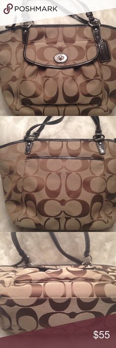 PRICE FIRM LIKE NEW LARGE COACH Leah Tote COACH#B1077-F14659. Clean liner. Good straps. No scuffs, stains, and snags. Great Mother's Day gift. Lots of space. Measures 10x16. PRICE FIRM UNLESS BUNDLED!! Coach Bags Totes
