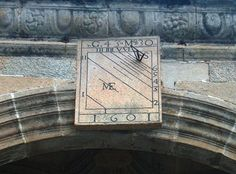 Sundial on the cathedral wall, Santiago de Compostela, Spain