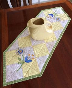 Yellow Blue & Creamy White Quilted and Appliquéd Table Runner