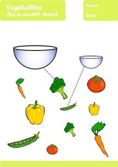 Vegetables Worksheets Age by Elena Dincheva Healthy Food Activities For Preschool, Fall Preschool, Craft Activities, Preschool Crafts, Teaching Kindergarten, Preschool Learning, Kindergarten Worksheets, Baby Crafts, Toddler Crafts
