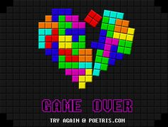 Coração Partido feito com peças de tetris. By www.poetris.com